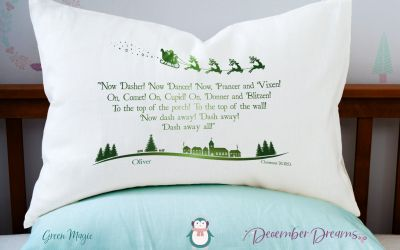 Green Magic Reindeer Pillowcase