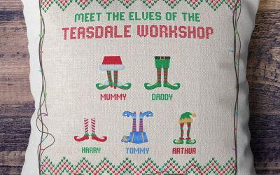 Family Elf Christmas Cushion
