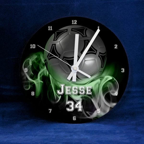 Football Clock, Green Flames Personalised with Name