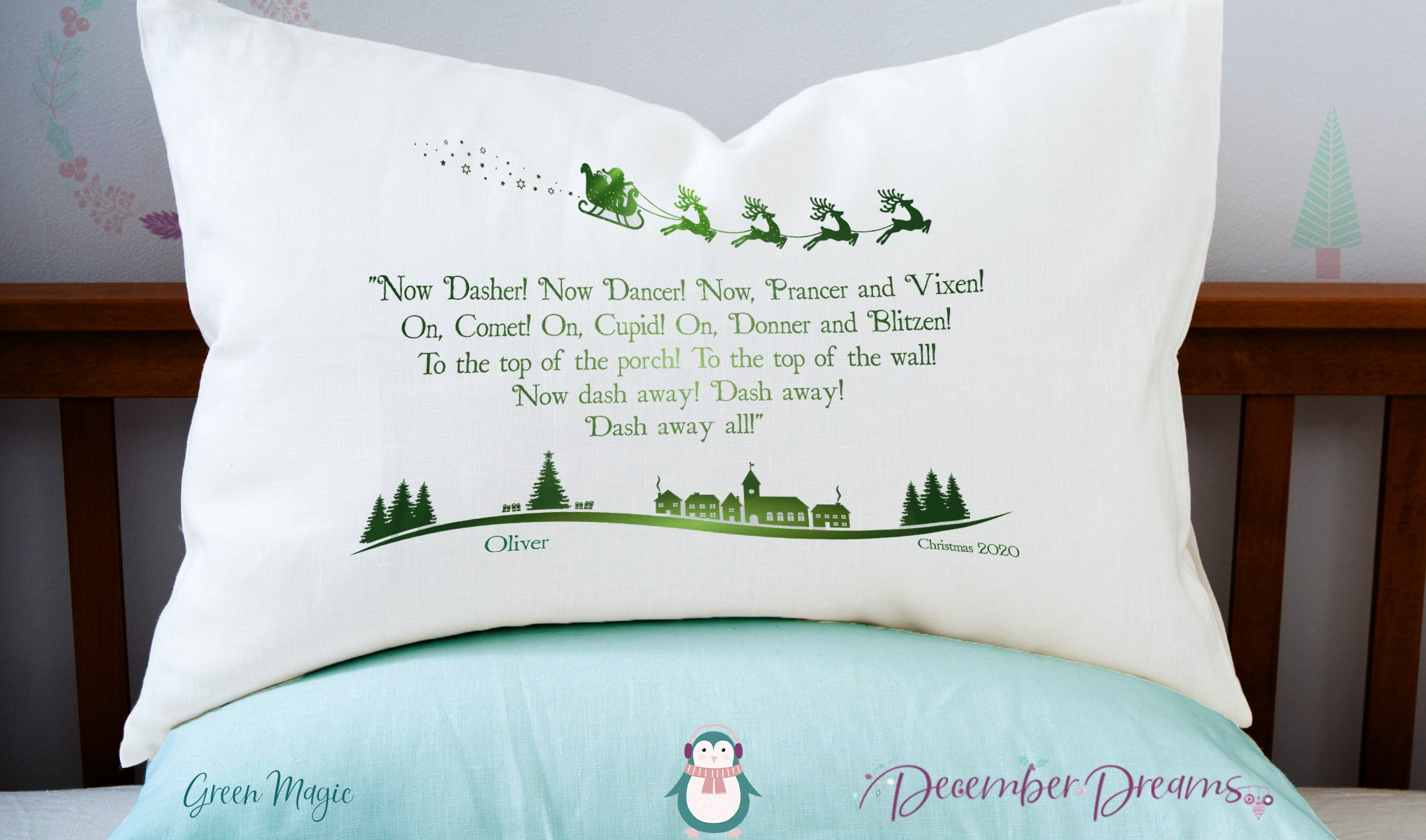 Green Magic Reindeer Pillowcase