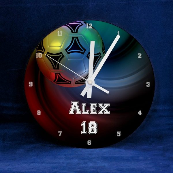 Multicoloured Football CLock - Personalised with NAme