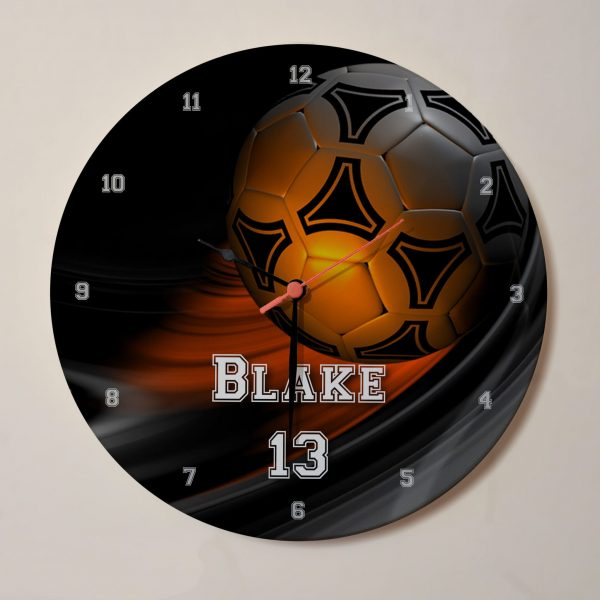 Orange Football Clock - Personalised with Name