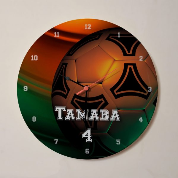 Name personalised football clock - orange and green